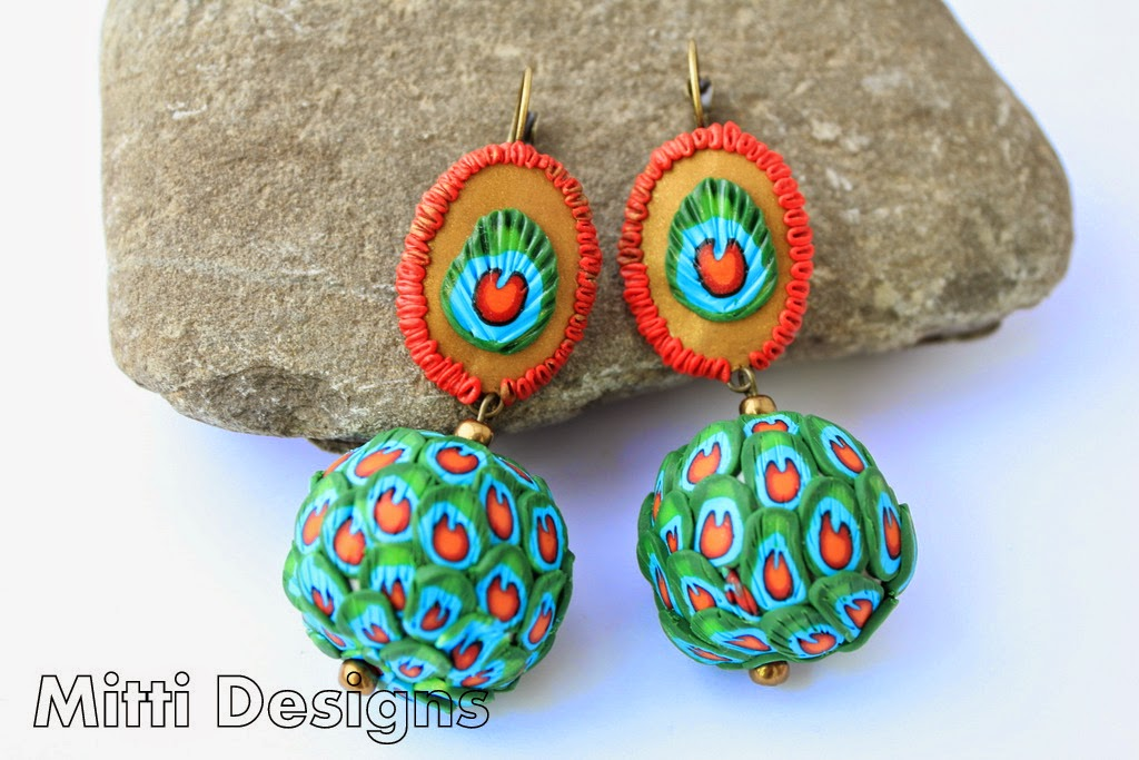 Peacock Feathers earrings, indian peacock, hand made, polymer clay, mitti designs, rachana saurabh,