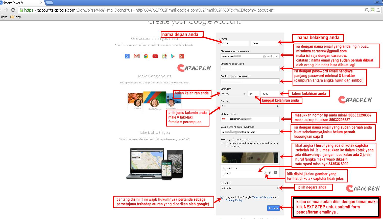 form pendaftaran email di gmail milik google