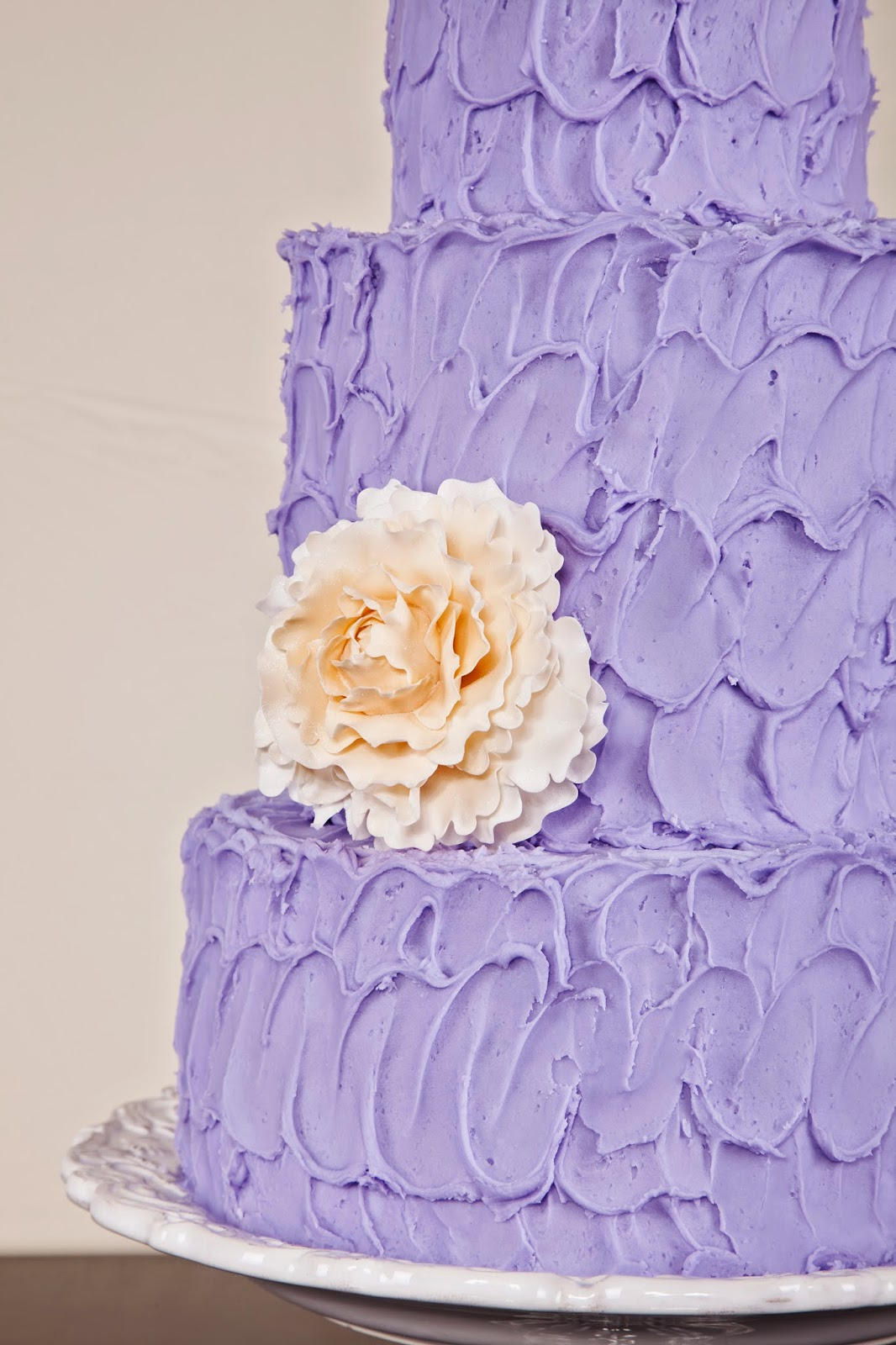 Delectable Cakes: Purple Textured Frosting Wedding Cake