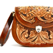 Hand tooled leather bag