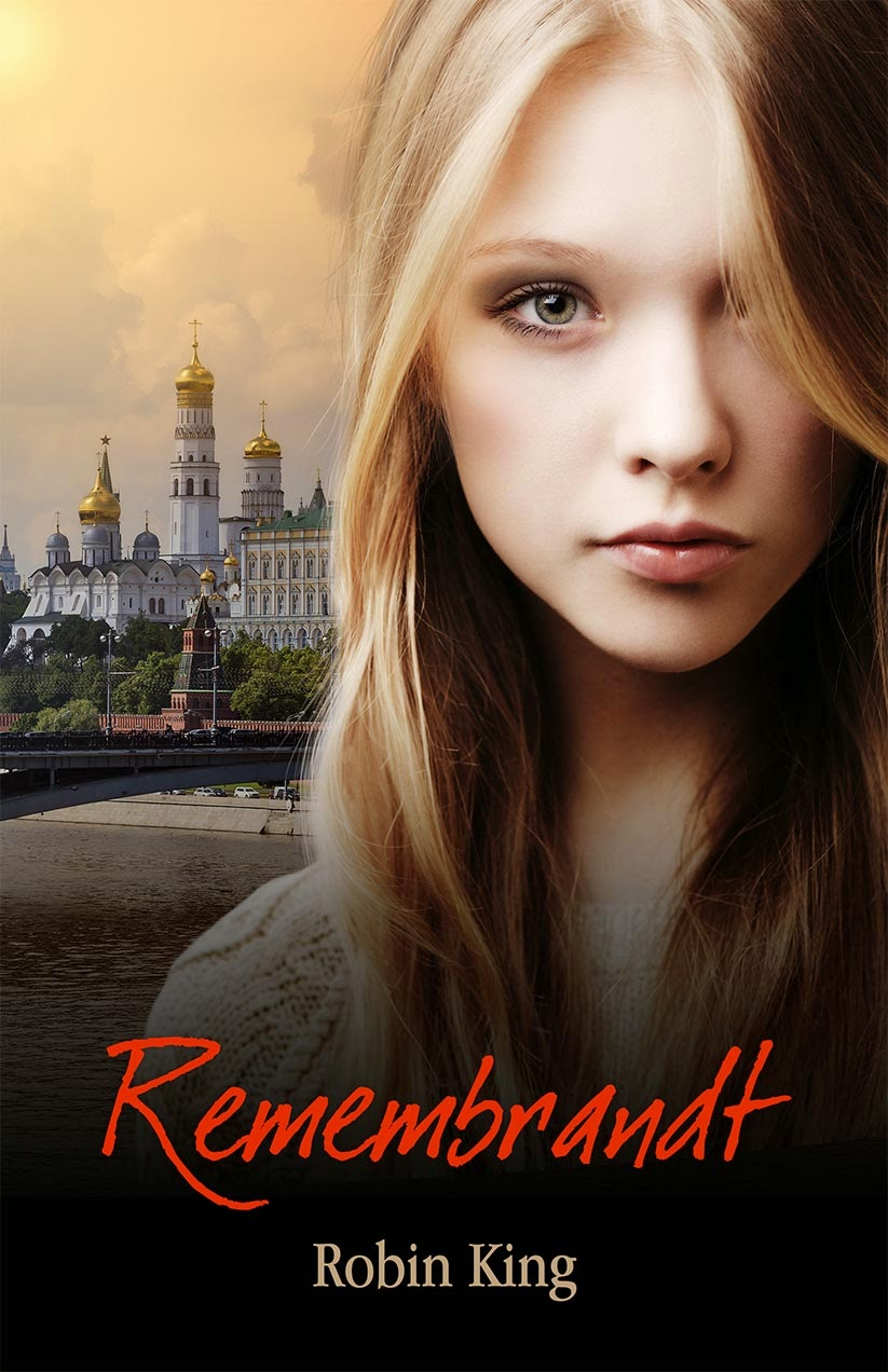 Book cover with blonde teen and russian city landscape