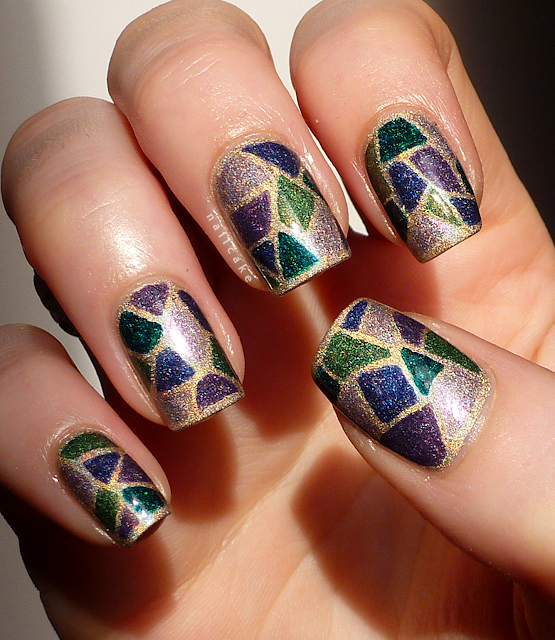 A England Nail Art Stained Glass Holographic Mosaic Direct Sunlight