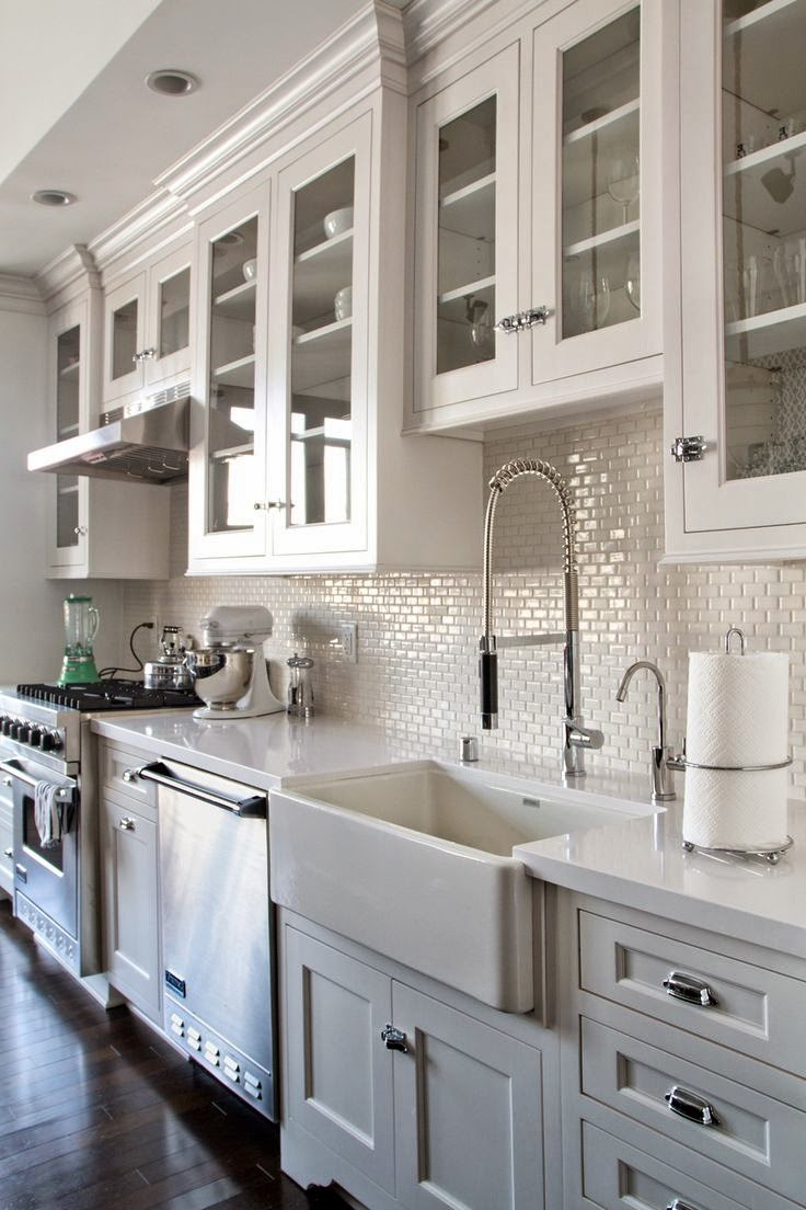 white kitchen cabinet glass doors - dark wood floors - Backsplash - white mini subway tile