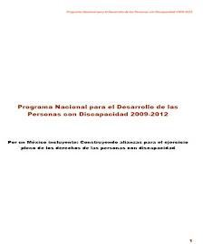 PROGRAMA NACIONAL PARA EL DESARROLLO DE LAS PERSONAS CON DISCAPACIDAD 2009-2012
