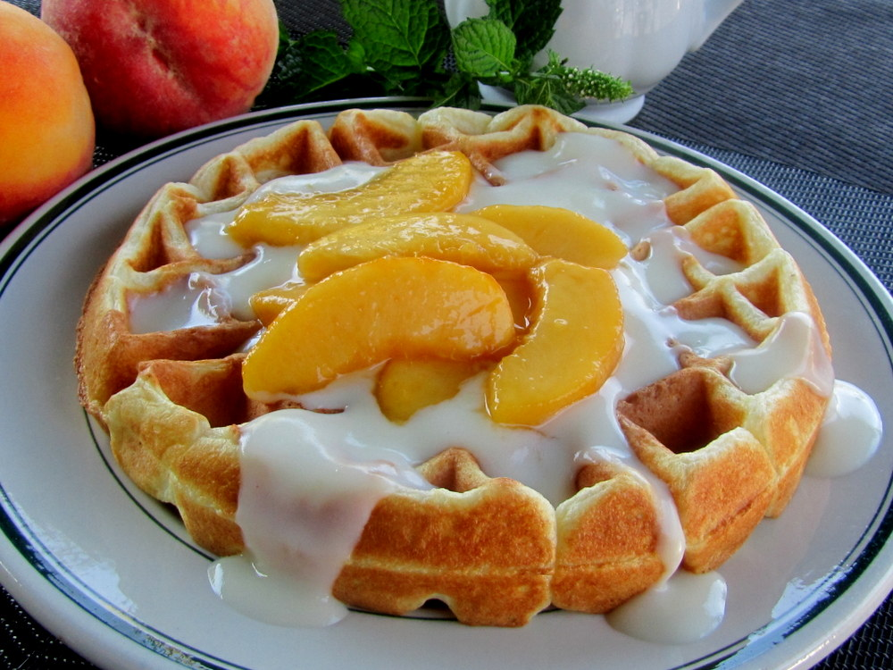 Mennonite Girls Can Cook: Waffles with Peaches