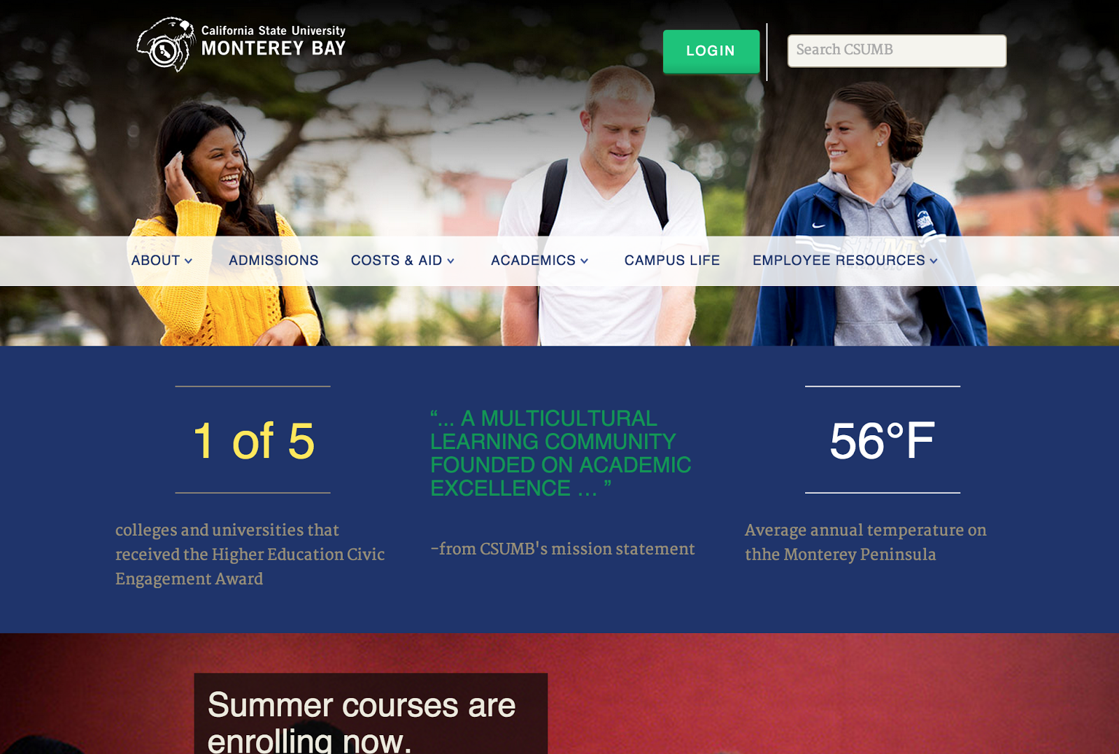 screenshot of the CSUMB homepage