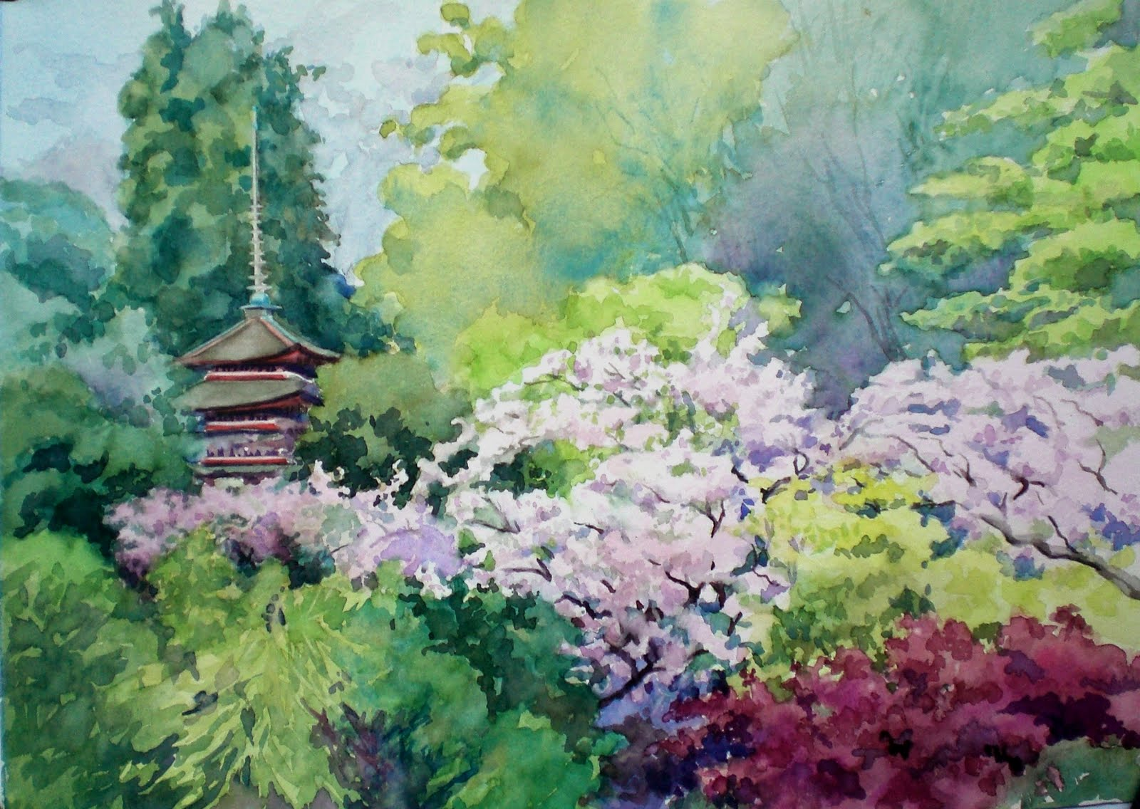 Japanese Garden Cherry Blossom Paintings