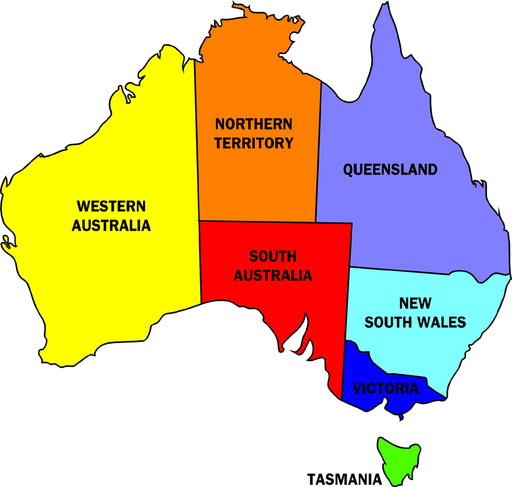 Australia political map pictures