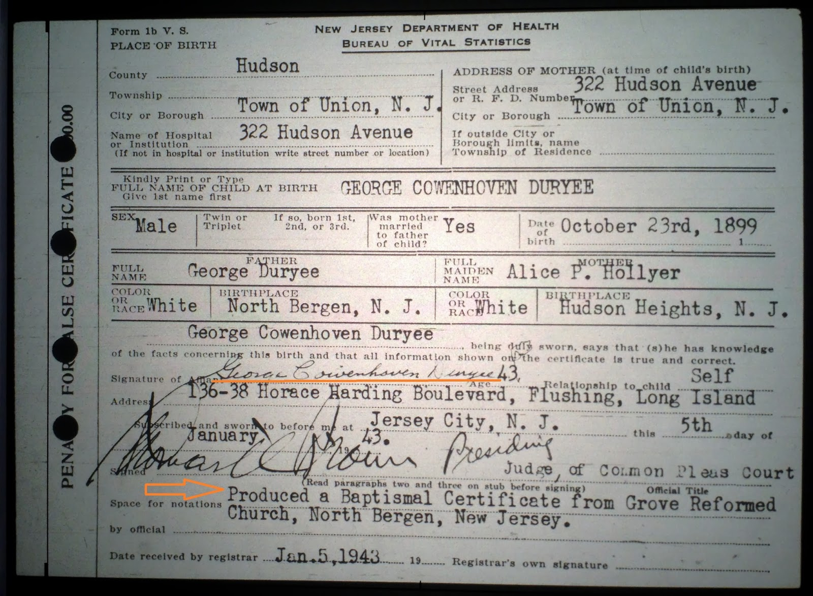 Family history research by jody delayed birth certificates delayed birth certificate for george cowenhoven duryee born in hudson county october 23 1899 aiddatafo Images