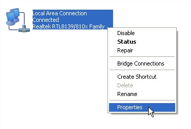 how to change local area connection ip address