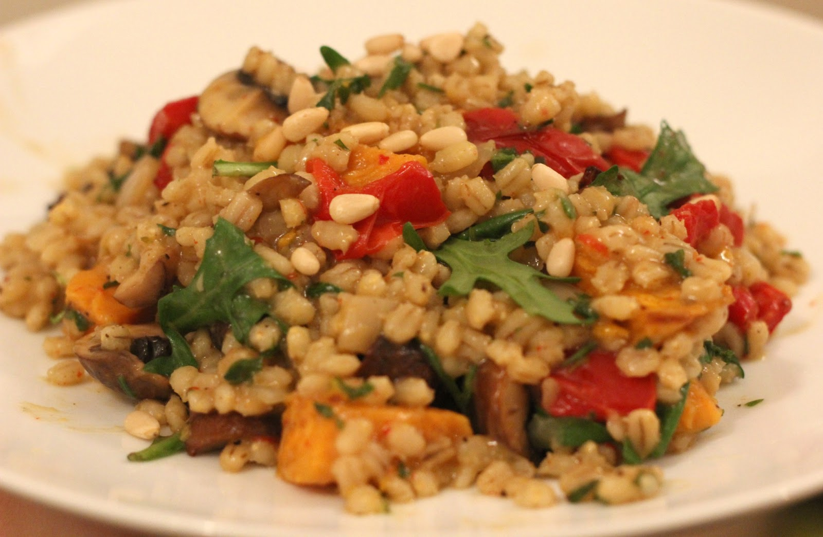 Pearl Barley Risotto with Roasted Sweet Potato, Mushroom and Red ...