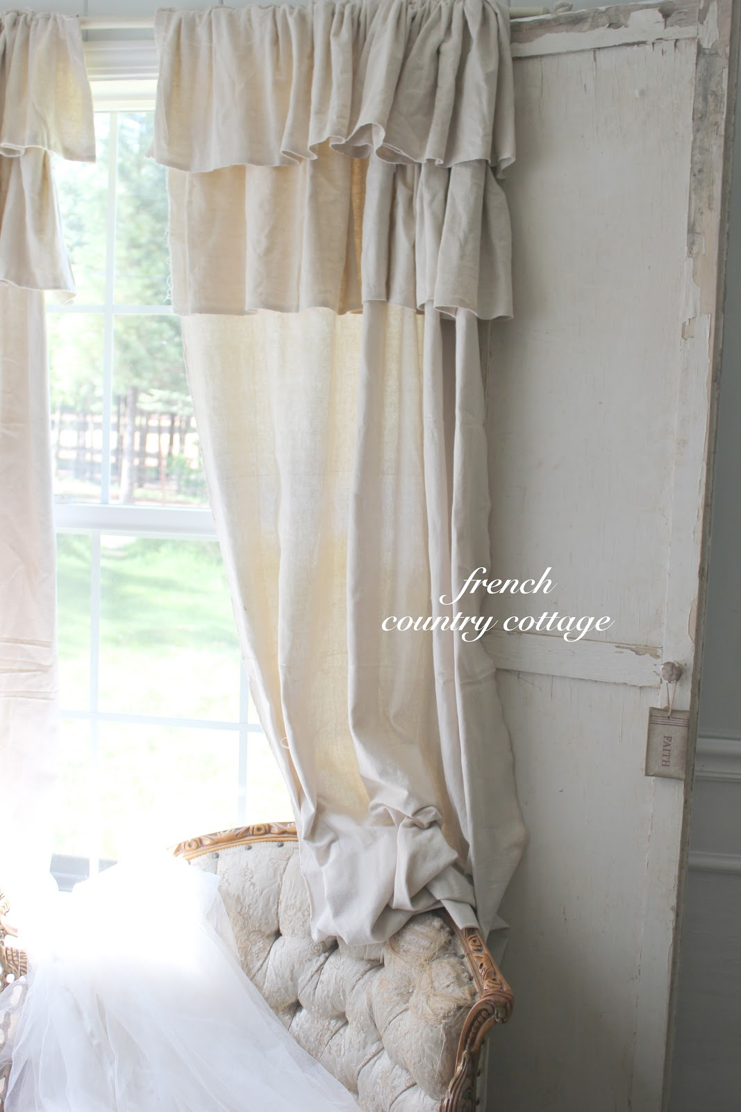 Drop Cloth Curtains Tutorial Double Ruffle Drop Cloth Panels French Country Cottage