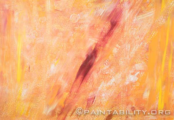 abstract painting done in oranges with a vertical streak of red in the middle