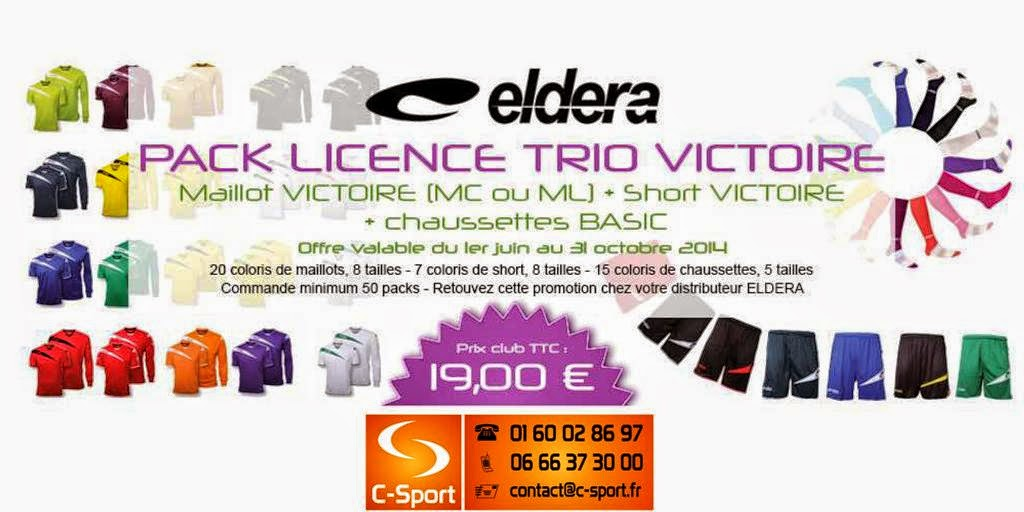 PACK TRIO VICTOIRE = Maillot VICTOIRE (MC ou ML) + Short VICTOIRE + Chaussettes BASIC = 19 €