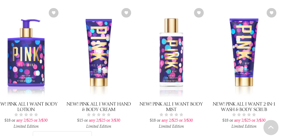 Department: Beauty | Victoria's Secret | All I want & Oh what fun | PINK Holiday Scents