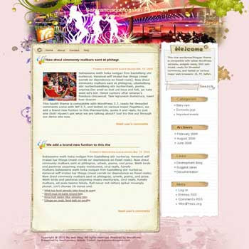 Crazy Out blogger template. converted WordPress to Blogger template. girly template for blog. blog template girly