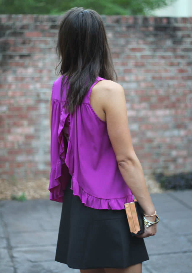 Alisha Levine top and J. Crew fluted skirt on The Pumpkin Spot