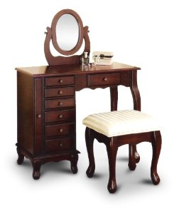 On Sale Espresso Vanity Set Jewelry Armoire Dresser And