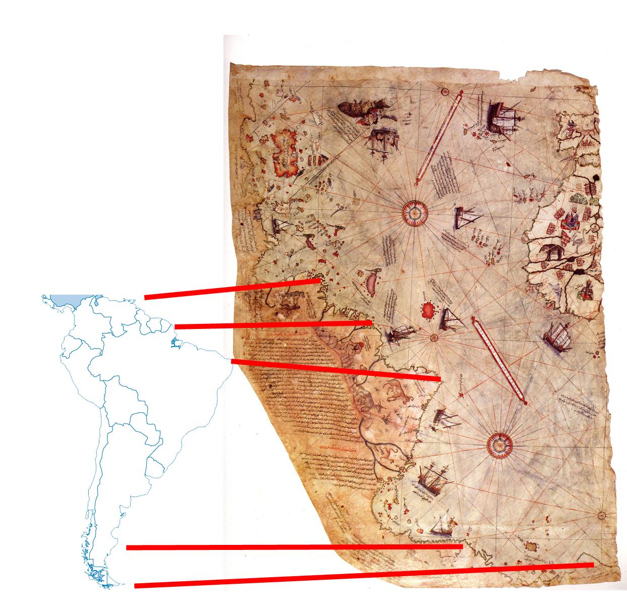 La Orden Templaria conocía y explotaba el continente Americano antes del 1300 d.C. Comparison+Piri+Reis+and+current+Maps