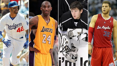 LA is a sports hotbed with the likes of stars (from left) Matt Kemp, Kobe Bryant, Jonathan Quick and Blake Griffin