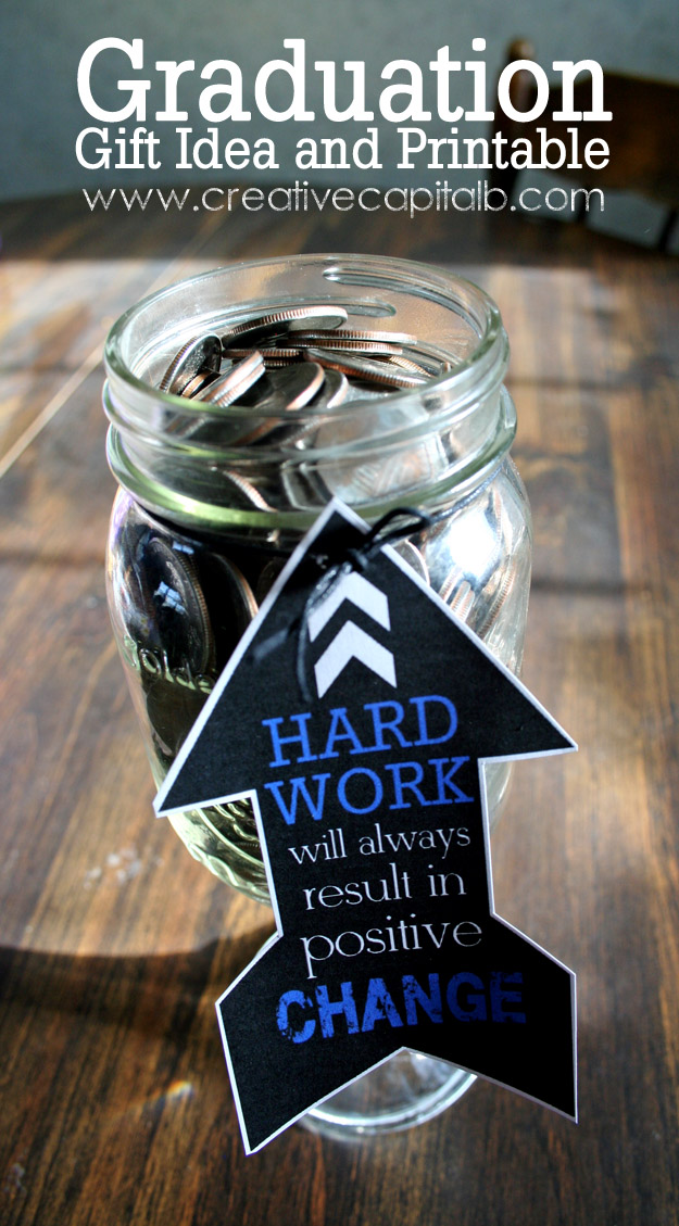 Capital b graduation mason jar money gift for Cool money jars