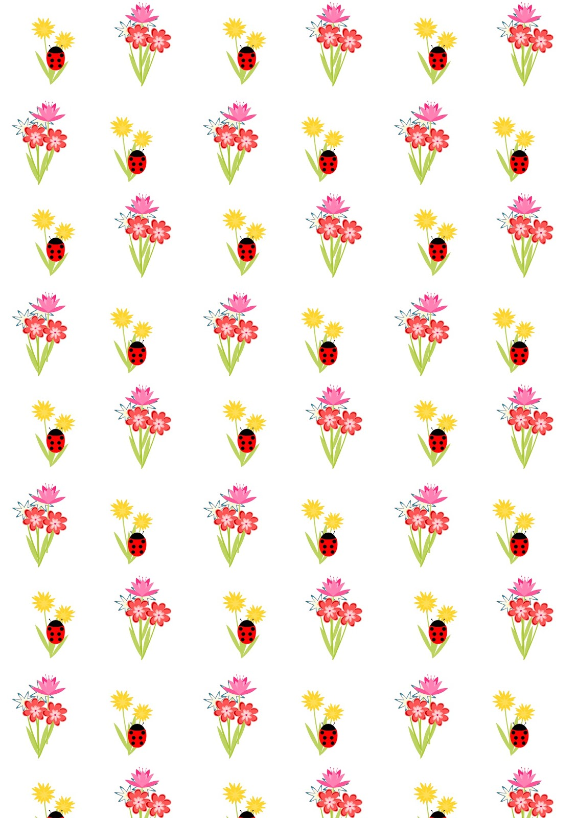 free digital floral scrapbooking paper with ladybugs