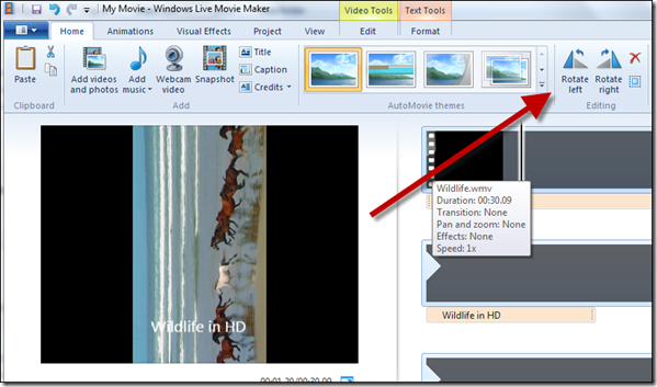 How to rotate videos using windows movie maker best video convert to rotate a video open window movie maker and import a video to it the video will be analyzed and expanded in the timeline view ccuart Choice Image