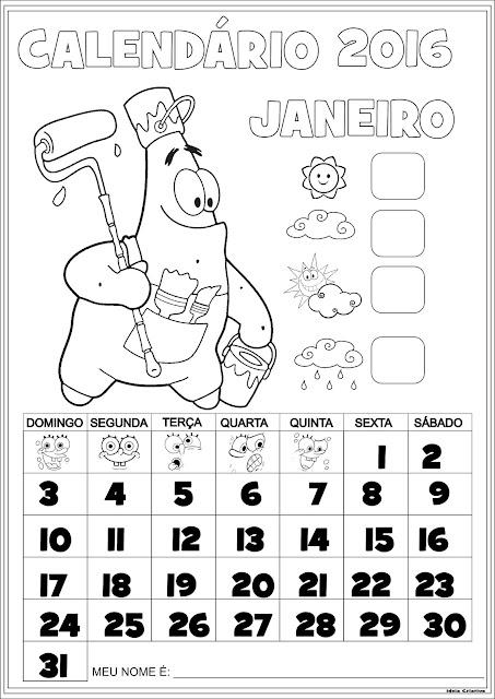 Calendário Janeiro 2016 com Numeração Patrick Estrela