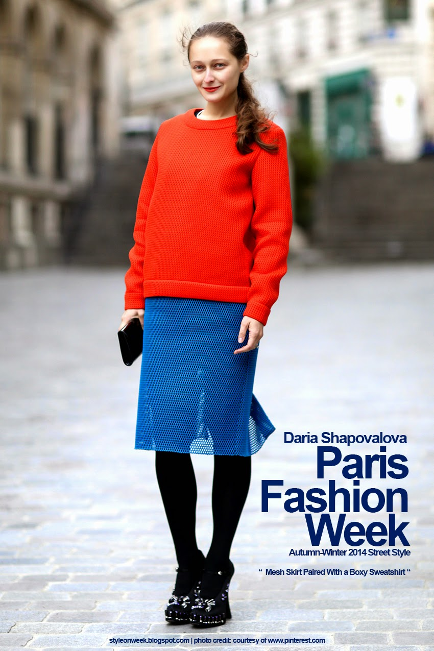 Paris Fashion Week Autumn-Winter 2014 Street Style - Mesh Skirt Paired With a Boxy Sweatshirt