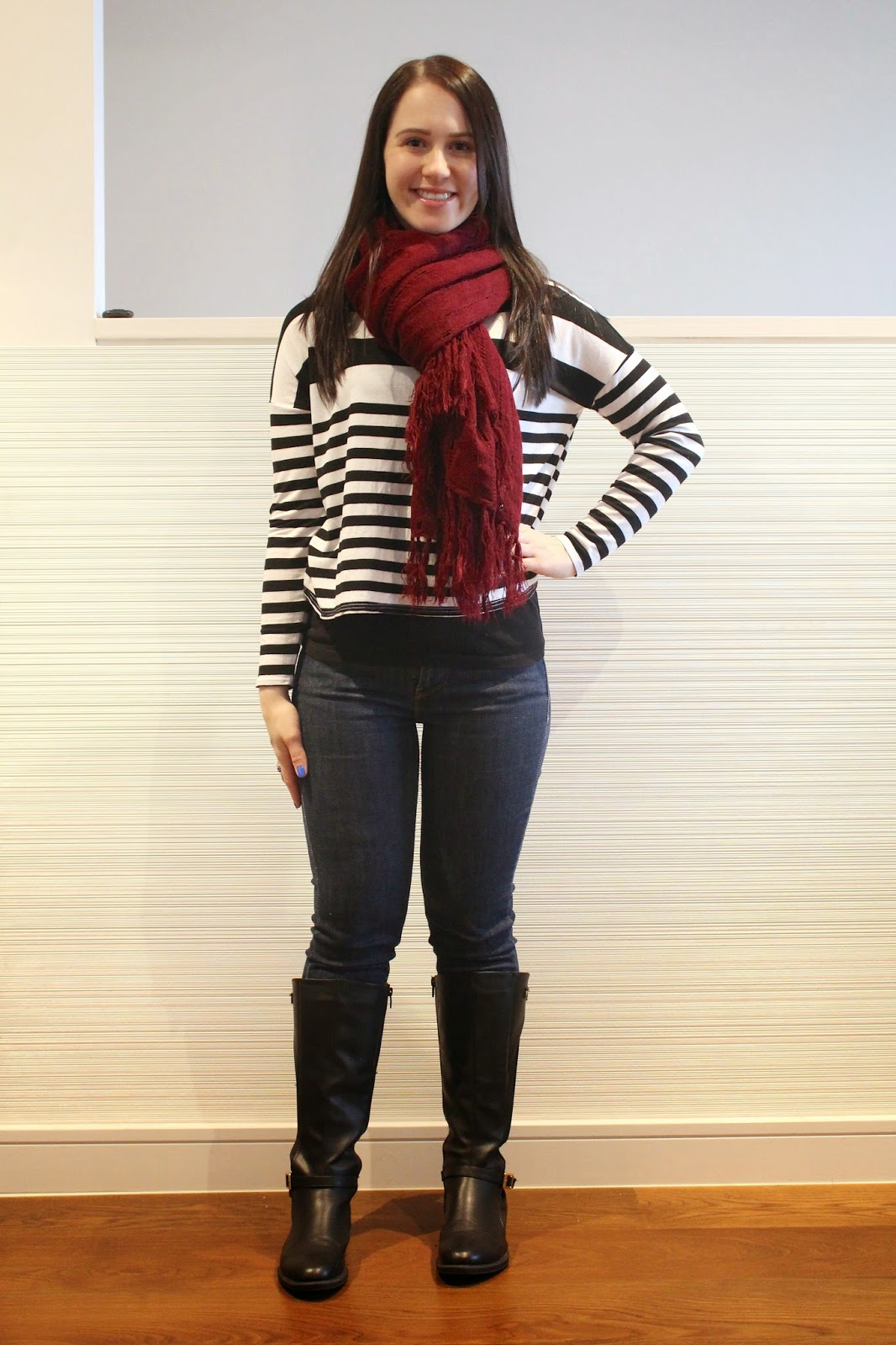 Jeans, striped top, maroon scarf, black riding boots, winter outfit, everyday outfit, fall outfit, travel outfit,