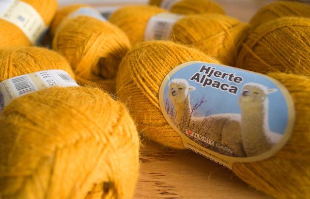 mustard alpaca yarn from Hjerte Garn