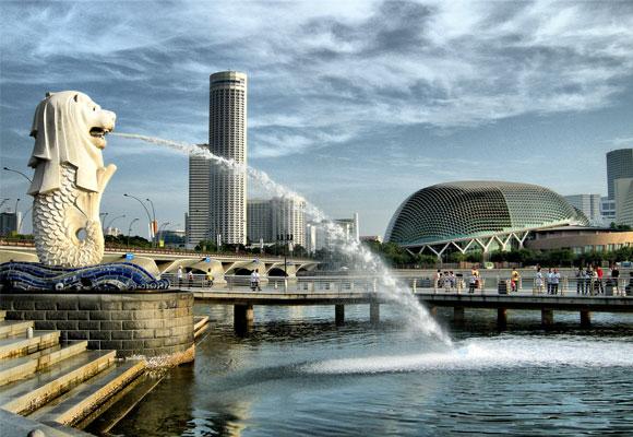 gambar foto patung merlion singapore
