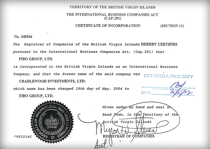Сертификат регистрации FIBO Group Ltd