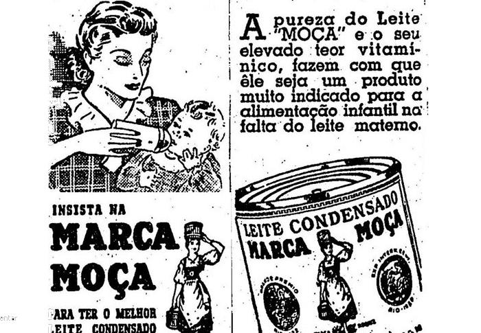 Propaganda do Leite Moça como complemento ao leite materno.