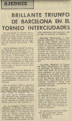 Recorte de prensa española sobre el Torneo de Ajedrez Internacional Interciudades Barcelona-Lisboa-Madrid 1971
