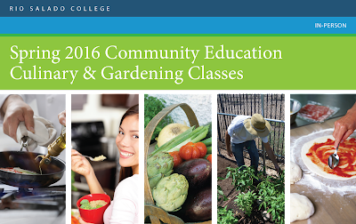Header for flier: Spring 2016 Community Education Culinary & Gardening Classes