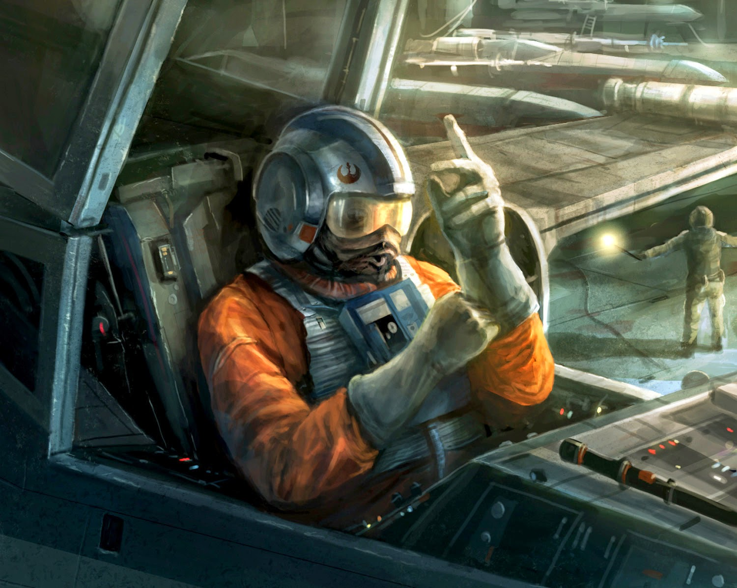 Rebel pilot ready for take off