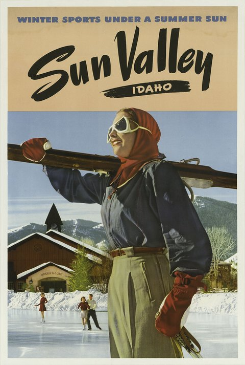 classic posters, free download, graphic design, retro prints, travel, travel posters, vintage, vintage posters, Sun Valley, Idaho, Winter Sports Under a Summer Sun - Vintage Sports Travel Poster