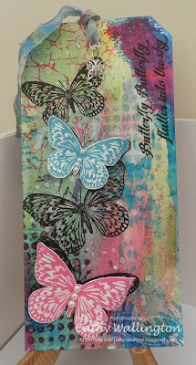 Visible Image spring challenge Butterfly sentiment retro dots crackle stamp