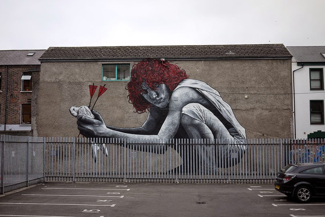 "MTO is currently in Northern Ireland where he was flown over to paint for ""Hit The North"" in Belfast. After a few days of work, the result is this massive piece which is entitled ""The Son Of Protagoras""."