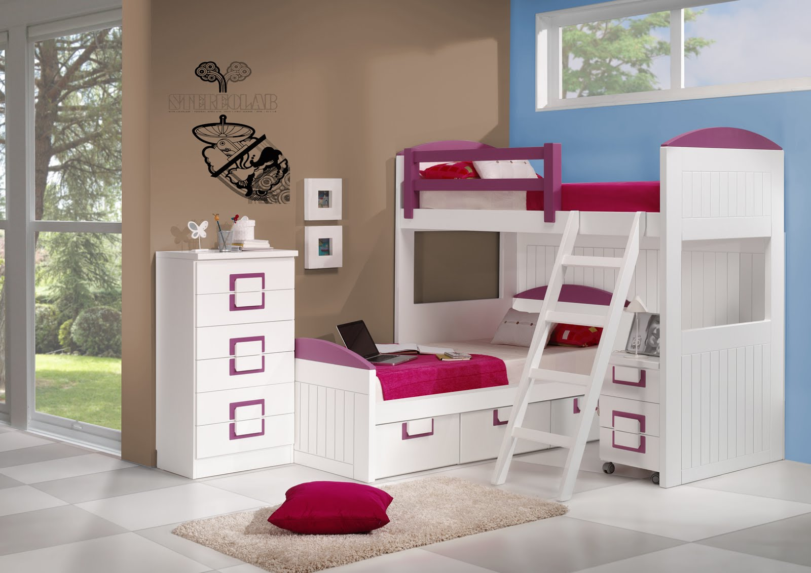 Dormitorios juveniles con literas for Mesillas de habitacion