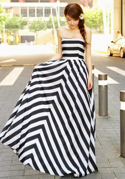 Black Striped Sleeveless Boat Neck Wrap Maxi Dress