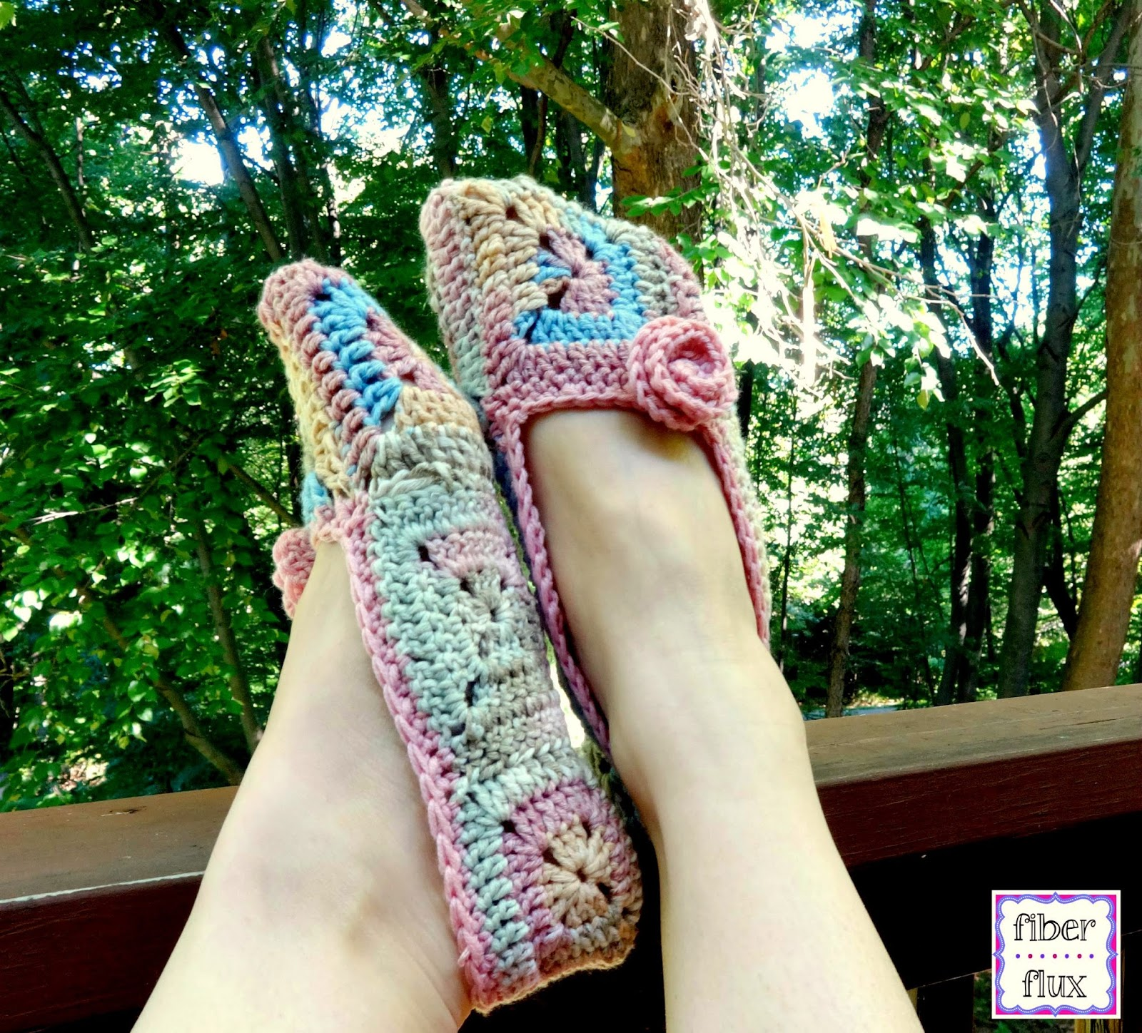 Free Pattern For Crochet Slippers : Fiber Flux: Free Crochet Pattern...Soft Blossom Slippers!