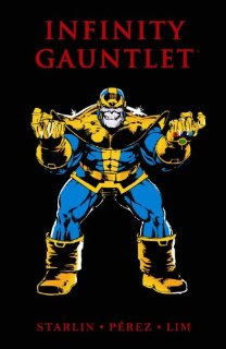 Thanos holding out the Infinity Gauntlets