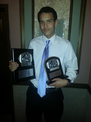 Junior Wide Receiver Derek Kief from La Salle with his 2012 GCL South First Team All-GCL & Wide Receiver of the Year Awards Derek was the only Junior to receive a Special Award