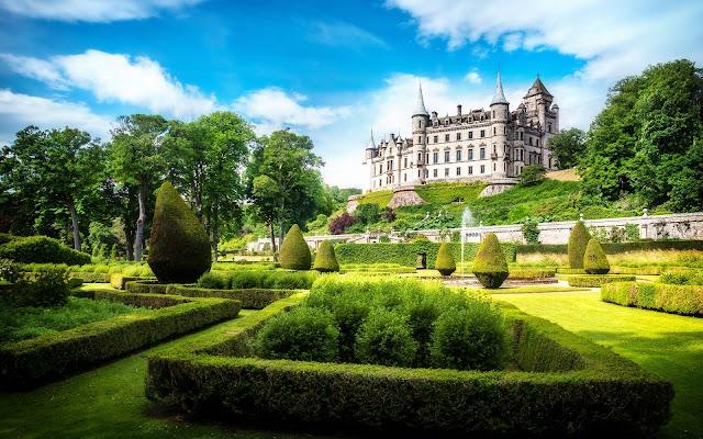 Great Dunrobin Castle And Beautiful Garden Scotland HD Desktop Wallpaper