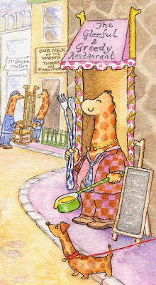 Girth giraffe proprietor of Gleeful & Greedy Restaurant, Neckelchester Village - Ingrid Sylvestre