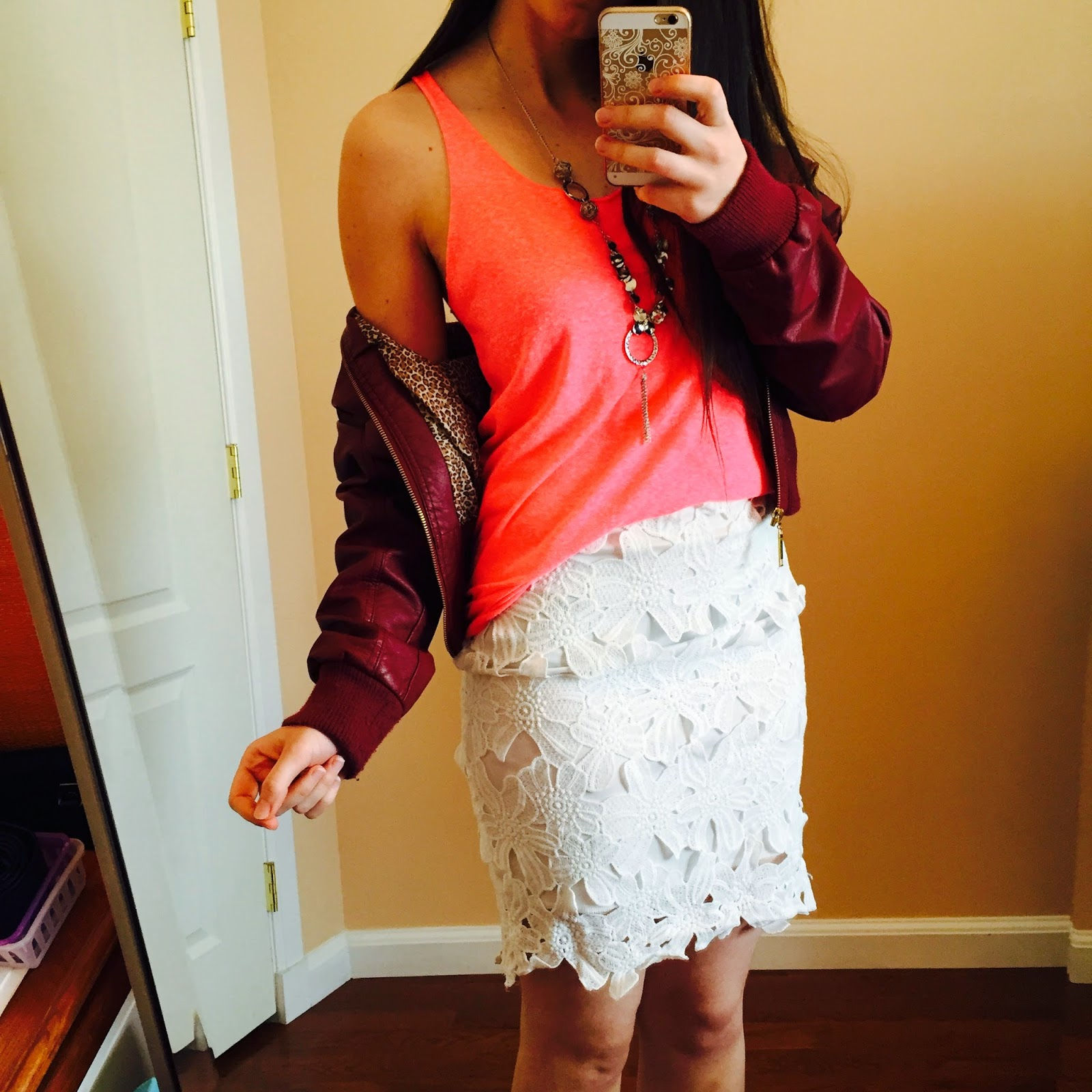 burgundy leather jacket, pink tank top, lace skirt, lace skirt outfit,