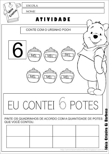 Caderno de Atividades Contando com o Ursinho Pooh para Imprimir Grátis