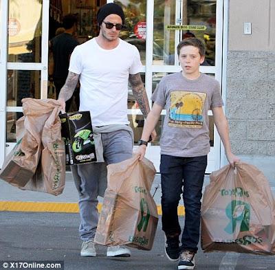 David Beckham and Brooklyn